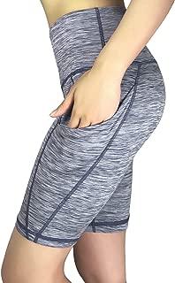 "REETOYO Women's 8"" High Waist Tummy Control Workout Running Yoga Shorts Side Pockets"