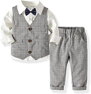 neveraway Boys Tuxedo Waistcoat Tops+Pants Outfits