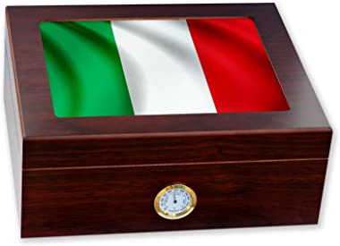 ExpressItBest Premium Desktop Humidor - Glass Top - Flag of Italy (Italian) - Waves Design - Cedar Lined with humidifier & Front Mounted Hygrometer.