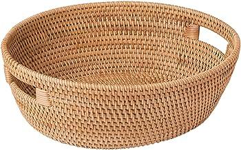LJJ Fruit Basket Rotin ovale Bagagages Chariot Bread Basket Extra Grande capacité de stockage Chariot de cuisine de légume...