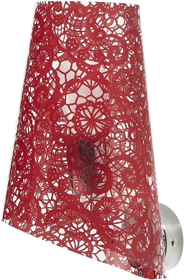 Aplique con pantalla cónica de policarbonato transparente, decorado con textura Encaje en los colores: negro, blanco y rojo. Especial en metacrilato Soporte de metal cromado. Casquillo E27.