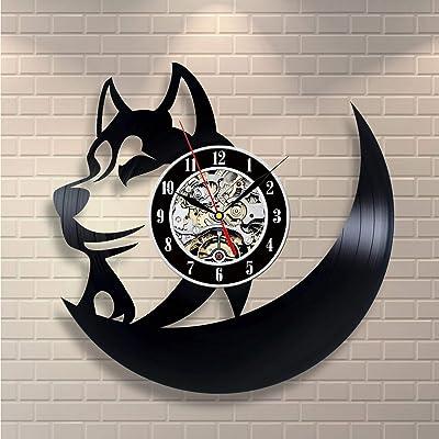 Kovides Decorations for Living Room Gift Idea Husky Dog Wall Clock Dogs LP Clock Animal Dog Wall Art Nature Retro Vinyl Record Clock Vintage Wall Clock Husk Wall Decals Nature Art