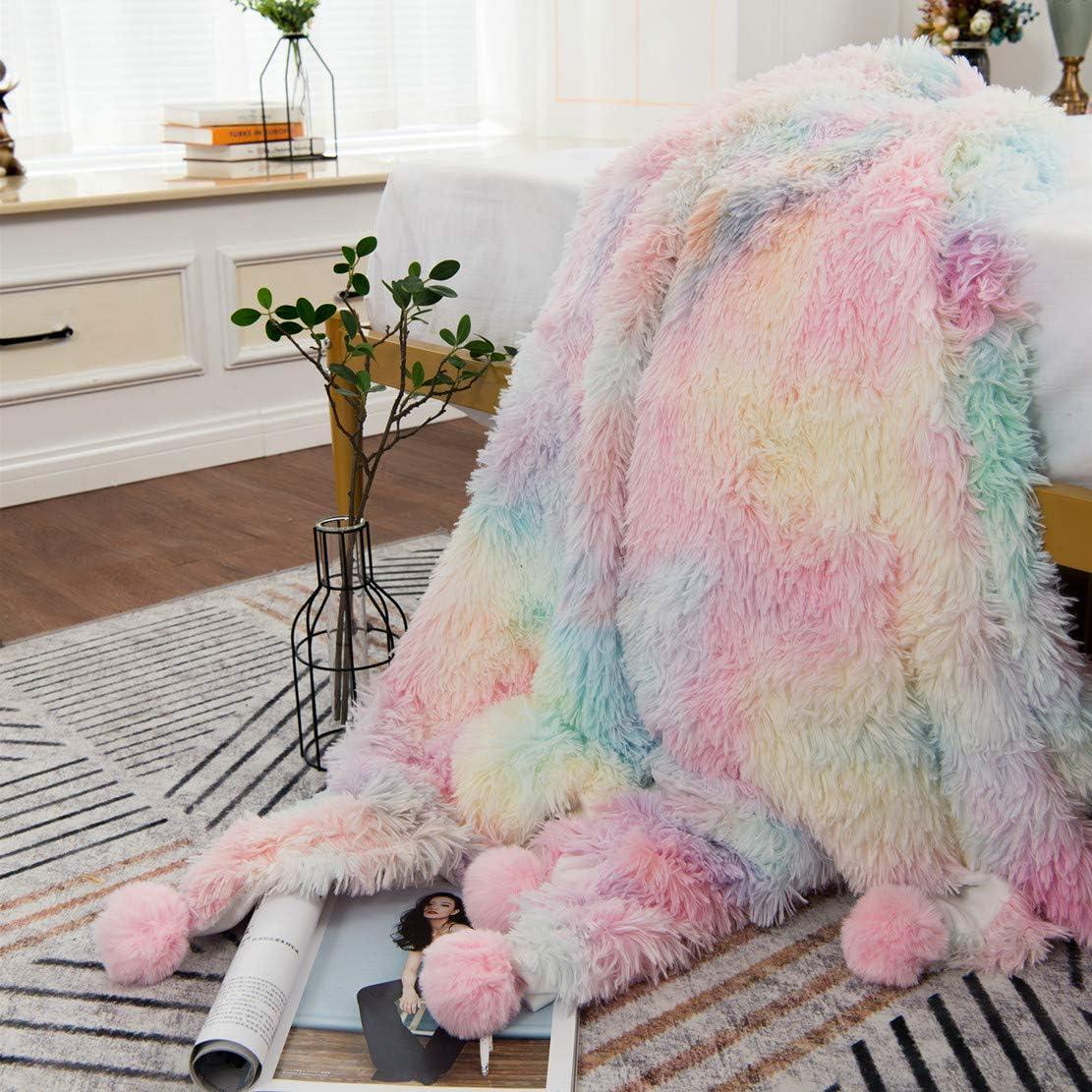 MYRU Plush 5 ☆ popular Super Soft San Diego Mall Blanket Bedding Sofa Furry Fax Cover Fuzzy