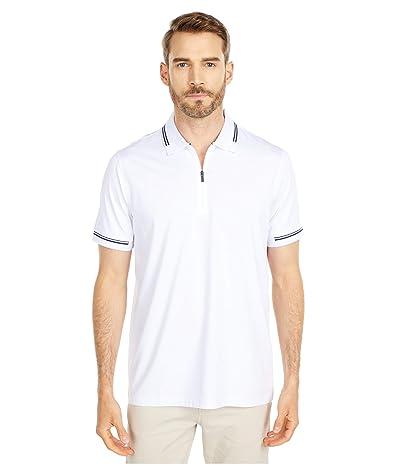BUGATCHI Gastone Short Sleeve Knit 1/2 Zip Polo (White) Men