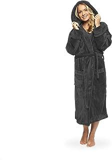 feff4628a4e Lumaland peignoir de luxe robe de chambre en microfibre avec capuche et  poches pour femme et