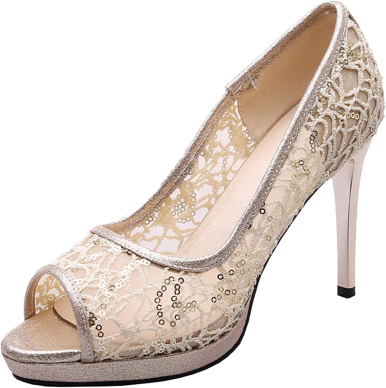 Artfaerie Womens Mesh Stiletto Peep Toe High Heel Lace Pumps Thin Heeled Platform Sexy Sandals