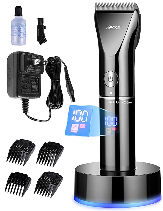 [Kebor ] [Kebor Hair Clippers for Men, Electric Cordless LED Display Titanium Ceramic Blade Cutting Kit with Charging Dock and Oil, Rechargeable Lithium-ion Battery Mens Beard Trimmer Wireless Travel Set PC1010 ] (並行輸入品)
