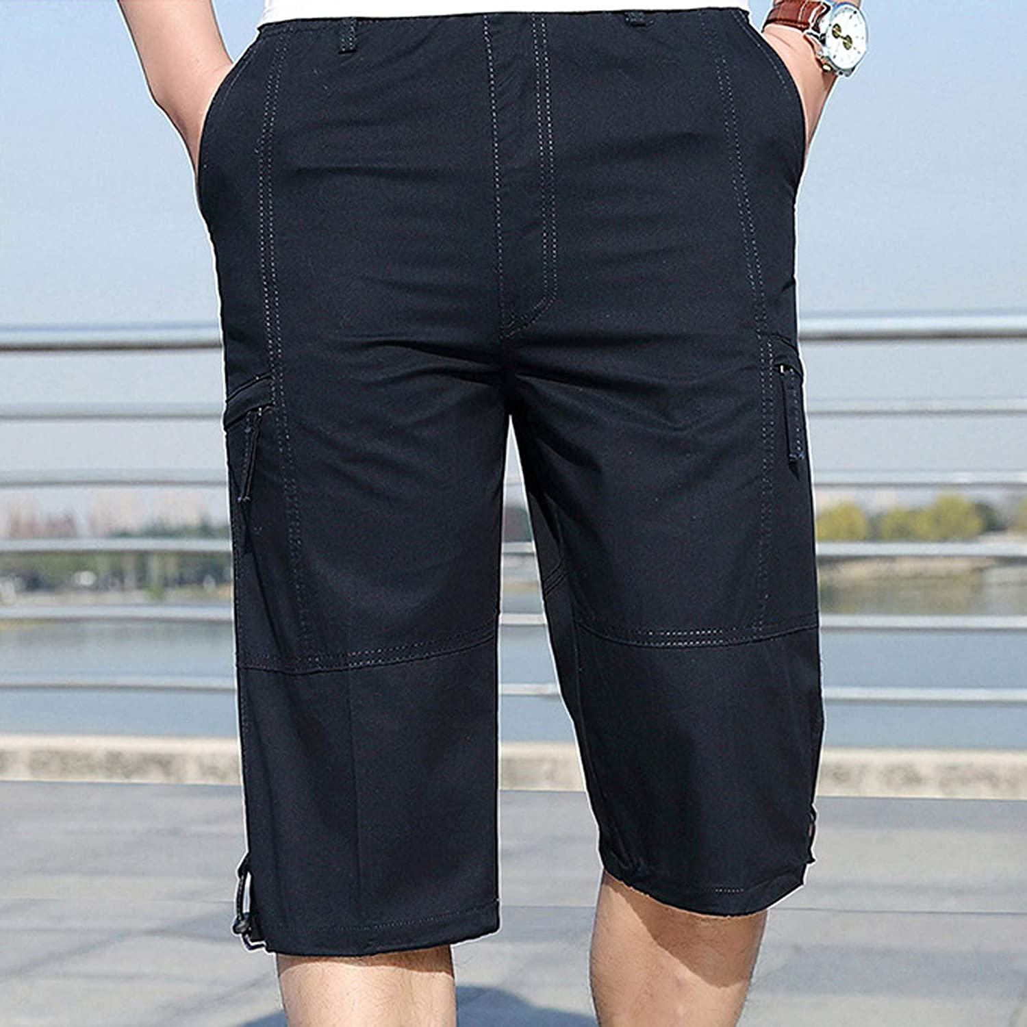 Yhjh Men's Cargo Shorts Over The Knee Messenger Short Mens Fashion Zipper Outdoors Pocket Shorts Sports Overalls Casual Pants