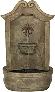 Sunnydaze Flower of France Outdoor Wall Water Fountain, with Electric Submersible Pump, 29 Inch, Florentine Stone Finish