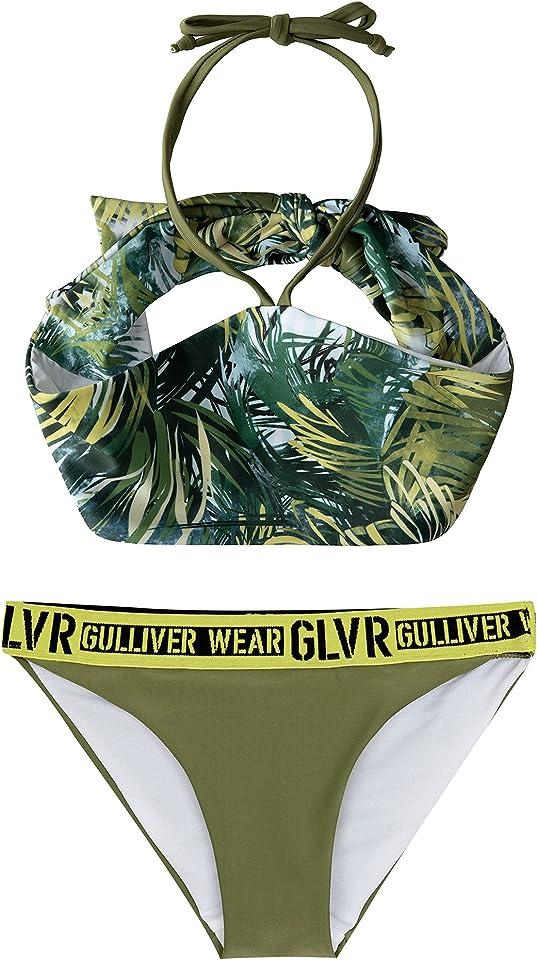 Mädchen Bikini Set 2 Teiler Badeanzug Grün Blumen Kinder Sommer Elastisch für Kids 134-164 cm