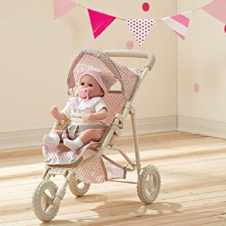 Olivia's Little World - Polka Dots Princess Baby Doll Jogging Stroller - My First Foldable Baby Doll Stroller with Basket ...