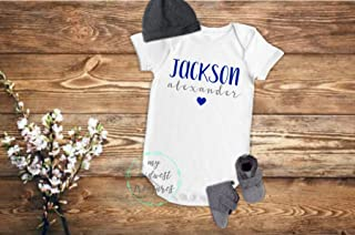 Personalized Baby Boy Name Coming Home Bodysuit | Newborn Baby Boy Outfit