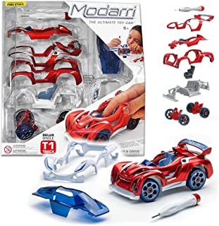 Modarri Delux T1 Track Car Red   Stem Educational Toy Cars   Make a Model Car - Design Your Own Working Race Cars   Fun and Functional Building Toys for Kids   fr Girls and Boys Age 5-10 Kit
