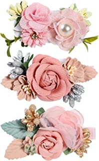Flower Clip for Baby Girl,Lightweight Floral Hair Bow with Boutique Fully Lined Alligator Accessories for Toddler Teens Gifts
