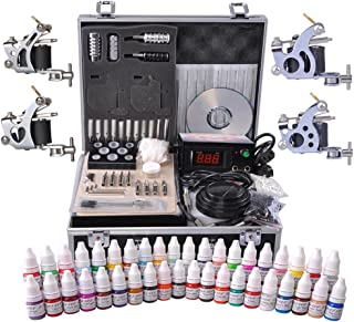 AW Professional Complete Tattoo Kit 4 Machine 40 Ink Gun Power Supply Grip Tip Foot Switch Set
