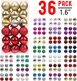 walsport Christmas Balls Ornaments for Xmas Tree - 36ct Plastic Shatterproof Baubles Colored and Glitter Christmas Party Decoration 1.6inch Set (Red & Gold)
