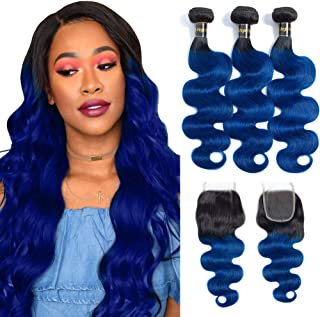 LS 12A Grade 2 Tone Ombre Hair 3 Bundles With Closure (14 16 18 with 12,free part) Brazilian Remy Human Hair Bundles with Closure 1b/Blue Black to Blue Brazilian Body Wave