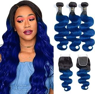 12A 1b/blue Body Wave Human Hair Bundles with Closure (22