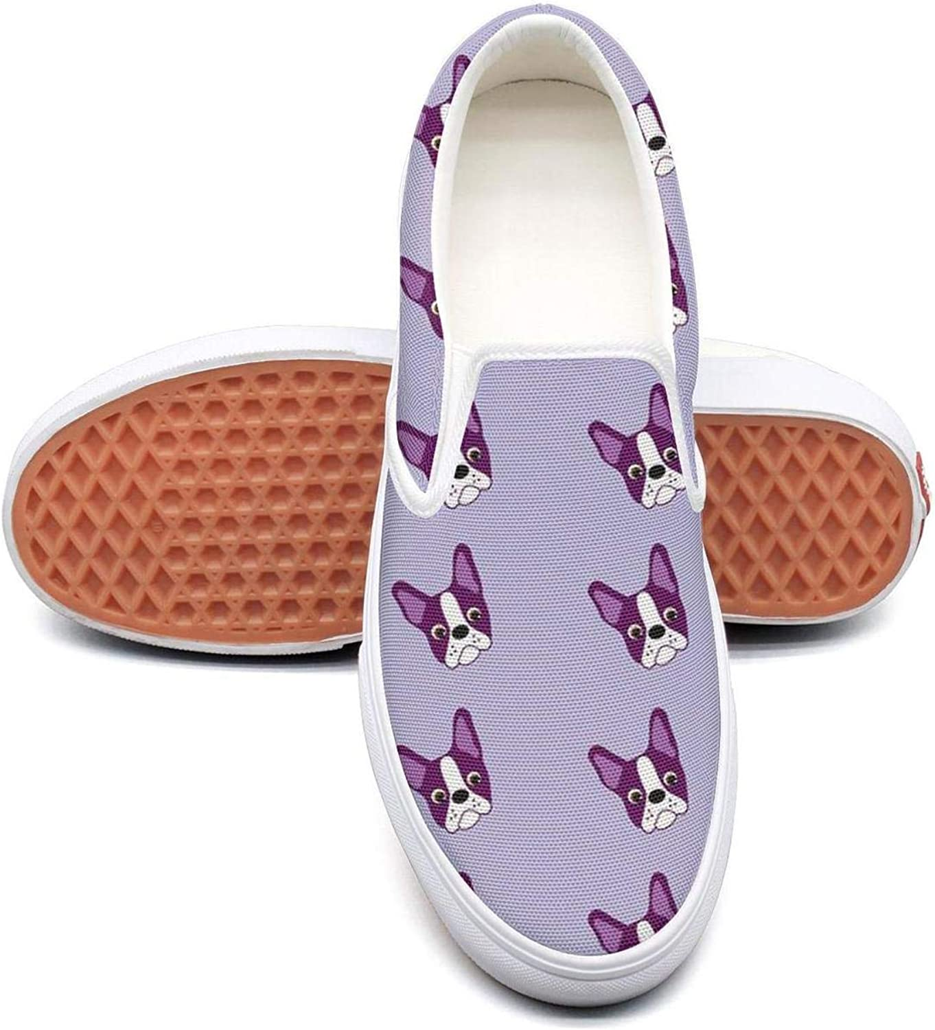 Refyds-es Purple Boston Terrier Puppy Womens Fashion Slip on Low Top Lightweight Canvas Tennis shoes