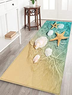 Beach Starfish Scallop Printed Bathroom Door Mat Area Large Carpet Durable Non-Slip Super Soft Flannel Floor Mat for Kitchen and Living Room Rug 6 ´ X 2 ´Foot