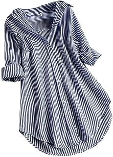 JURTEE Maniche Lunghe Donna Camicetta Taglie Forti Bottoni Blusa a Righe Allentata T-Shirt Camicette Donna Eleganti Estate