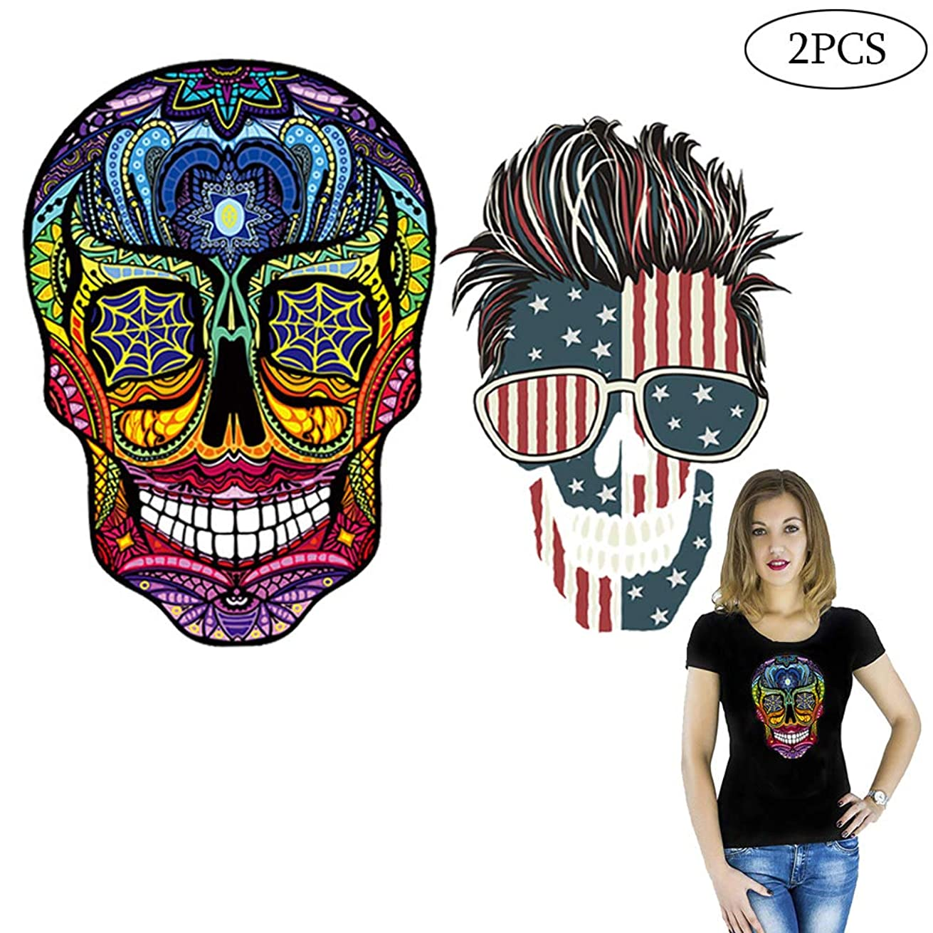 Flag Patches Skull Patches Heat Transfer Stickers American Flag Embroidered Colorful Applique Sew on Iron on Patch for Men Women Kids Clothing,T-Shirt, Jeans,Home Textiles DIY 2PCS