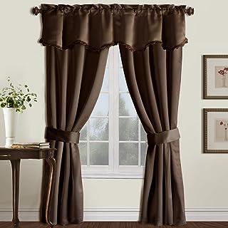 United Curtain Burlington Blackout Window Curtain Five Piece Panel Set, 52 by 84-Inch, Chocolate