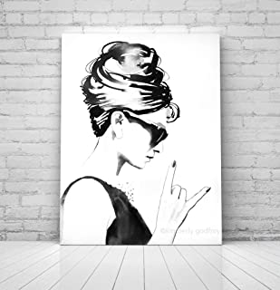 B&W Audrey Rocks Wall Decor Audrey Hepburn Unique Contemporary Art For Salon - Nail, Beauty & Hair Salon Decor