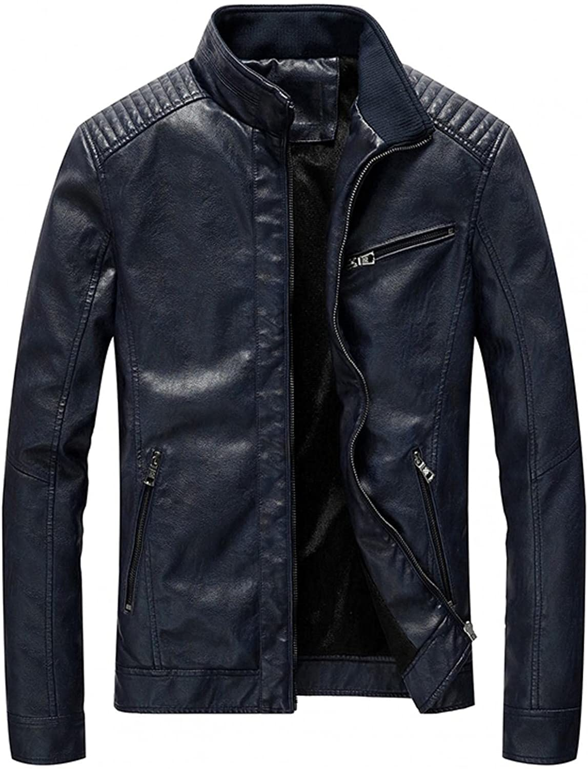 Men's Vintage Stand Collar Pu Leather Jacket Slim Fit Zip-Up Biker Motorcycle Lightweight Faux Leather Outwear