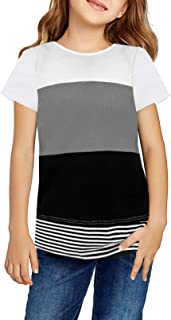 Asvivid Girls Casual Colorblock Striped T-Shirts Little Tee Tops Loose Short Sleeve Crew Neck Blouse Size 4-13Y