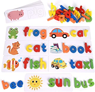 XREXS See and Spell Learning Toys, Matching Letter Puzzles GamesToy for Kids Preschool 2 3 4 5 Year Old, Sight Words Flash...