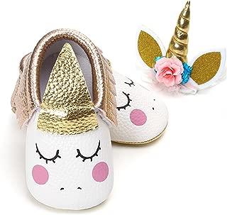 Baby Premium Soft Sole Infant Toddler Prewalker Anti-Slip Party Dress Crib Shoes with Free Baby Unicorn Headband