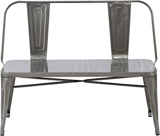 BTEXPERT AM5061DM Industrial Dining Chair Bench Full Back Seat, Distressed Metal, 5061DM