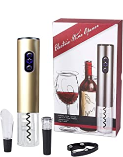 Kurkentrekker, bi-comfort elektrische wijnopener, automatische flesopener, wijnflesopener, luxe cadeauset bevat foliesnijd...