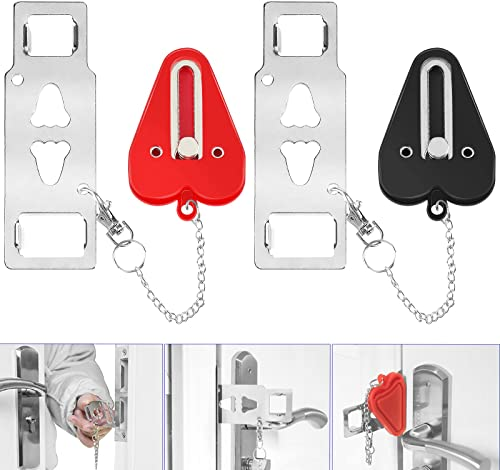 YGOCH Portable Door Lock 2 Pack Home Security, Upgraded Strong Multi Size Travel Lock for Additional Safety and Priva...