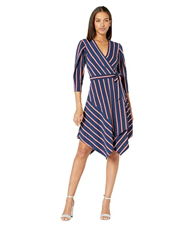 BCBGMAXAZRIA Stripe Matte Jersey Wrap Dress (Pacific Blue/Valet Stripe) Women