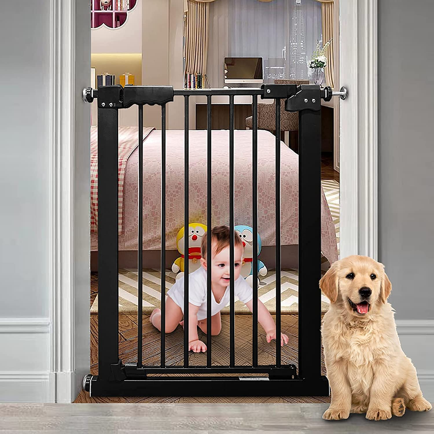 COSEND Narrow Baby Gate 24 Inch Small Black Tension Indoor Safety Gates Auto Close Walk Through Metal Narrow Dog Gate for The House Doorways Stairs (24.02