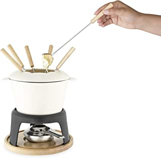 Twine 5998 Farmhouse Kitchen Enamel Cast Iron Fondue Set Cheese Melting Pot, Metal Stand with Stainless Steel Forks and Ch...
