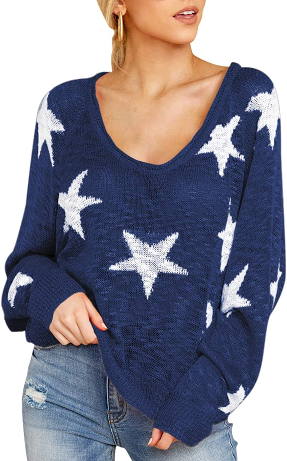 AOHITE Women's Loose Star Sweater Long Batwing Sleeve V Neck Knitted Pullover Tops Long Sweater