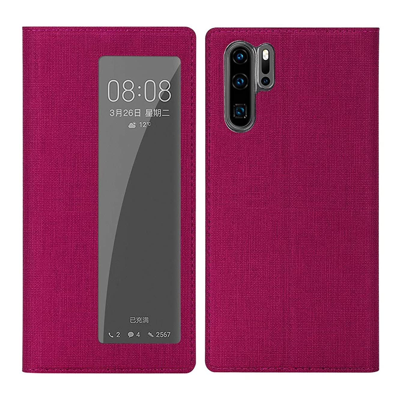 DDJ P30 Pro Case Cover, Ultra Slim Soft TPU&PU Leather Flip Case with Kickstand, Window View [Smart Sleep]&[Wake Up Function] Phone Case for Huawei P30 Pro (P30 Pro, Rose-P30 Pro)