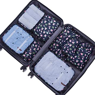 Belsmi 8 Set Packing Cubes - Waterproof Compression Travel Luggage Organizer with Shoes Bag (Cyan Birds)