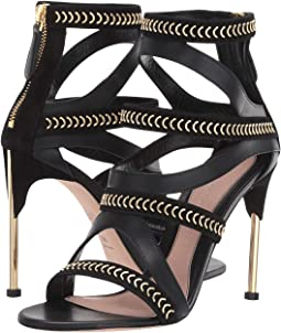 Heeled Leather Sandal with Hardware