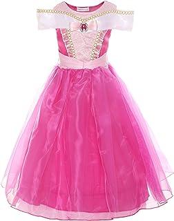 ReliBeauty Mädchen Kleider Brosche Dornröschen Aurora Prinzessin Kleid Drop shoulder Cosplay Kostüme