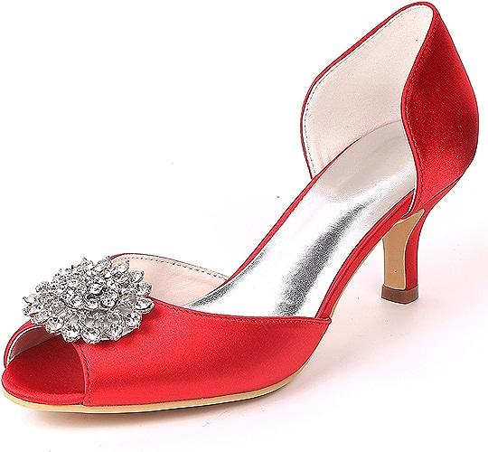 Elobaby Femmes Chaussures De Mariage Peep Toe Plateforme Demoiselles d'honneur Mode Talons Bas Robe De Satin Talons Moyens   6cm Talon