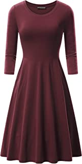 FENSACE Womens 3/4 Sleeves Round Neck Casual A-line Flare Cotton Midi Skater Dress