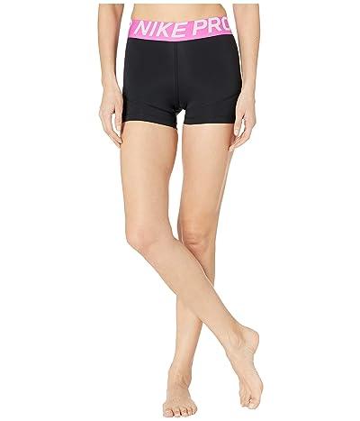 Nike Pro Shorts 3 (Black/Active Fuchsia/White) Women