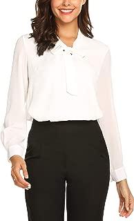 URRU Women's Office Shirts Bow Tie V Neck Long Sleeve Layered Chiffon Blouse Tops S-XXL