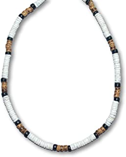 5mm White Heishe Puka Shell Black and Tiger Coco Surfer Necklace - 5mm (3/16