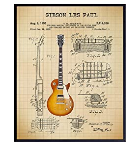 Les Paul Patent Print - Iconic Electric Guitar of Famous Musicians - Music Gift for Rock n Roll Fan, Musicians, Guitar Player - Cool Wall Art, Home Decor Artwork Poster Picture - 8x10 Unframed