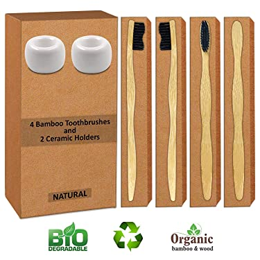 Charcoal Bamboo Toothbrush (Pack of 4 Plus 2 Ceramic Porcelain White Toothbrush Holder), BPA Free Nylon Bristles Soft Toothbrush for Sensitive Gums, Eco Friendly Biodegradable Vegan Bamboo Handle